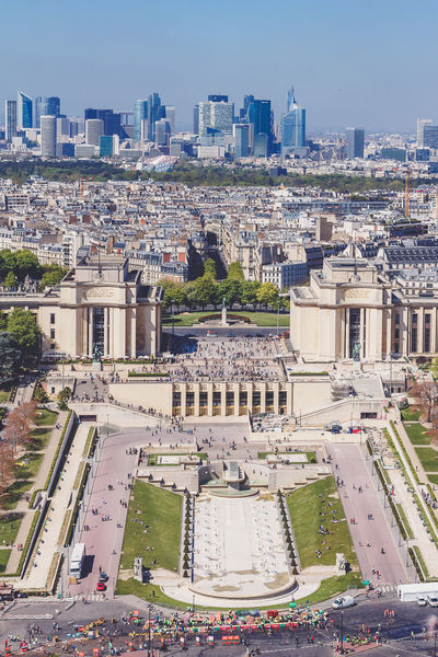 Trocadero view from Eiffel Tower at daytime Paris Paris, France  Trocadero Architecture Building Exterior Built Structure City Cityscape Clear Sky Day High Angle View History No People Outdoors Sky Tourism Travel Destinations View From Eiffel Tower View From Above First Eyeem Photo