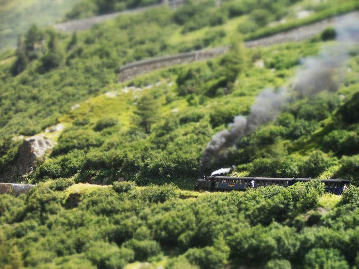 Steam Engine Train In Hills