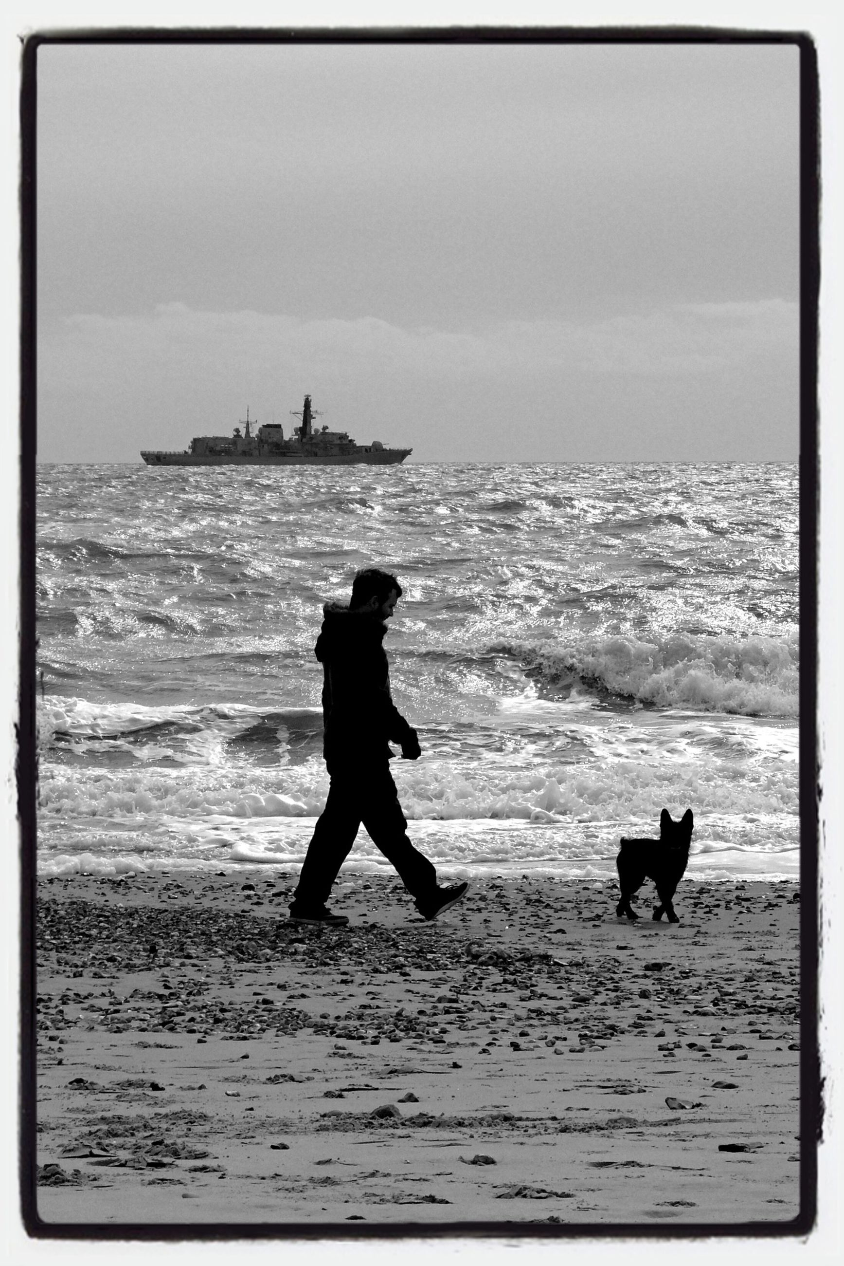 sea, water, horizon over water, beach, transfer print, full length, shore, lifestyles, auto post production filter, leisure activity, dog, men, pets, one animal, sky, animal themes, domestic animals, wave