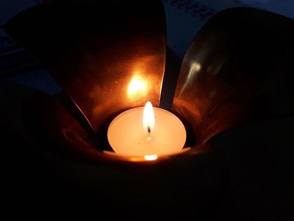 Flame Heat - Temperature Burning Candle Close-up Candlelight Tea Light Lit Darkroom Light Glowing Wax Capture Tomorrow