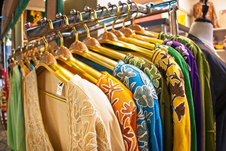 Choice of fashion clothes of different colors on hangers Retail  Clothing Choice Store In A Row Variation Fashion Large Group Of Objects Multi Colored Coathanger Indoors  No People Business Shopping Arrangement Hanging Rack Textile Clothes Rack Collection Sale Consumerism Retail Display Order Boutique