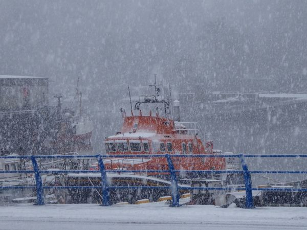 Blizzard Weather Marine Ship Scotland Stornoway Lifeboat RNLI Lifeboat Winter Snow Cold Temperature No People Outdoors Day Nature Built Structure Architecture Snowing Shades Of Winter Shades Of Winter