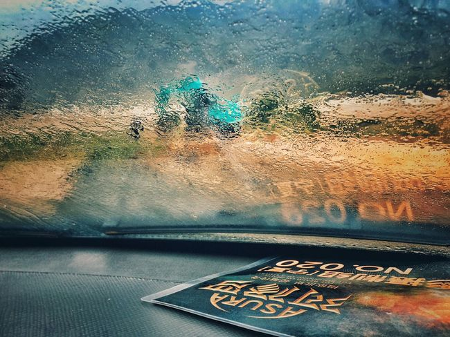 Window Glass - Material Vehicle Interior Wet Journey Rainy Multi Colored Scenics Outdoors Beauty In Nature Starting A Trip Tourists Hello World