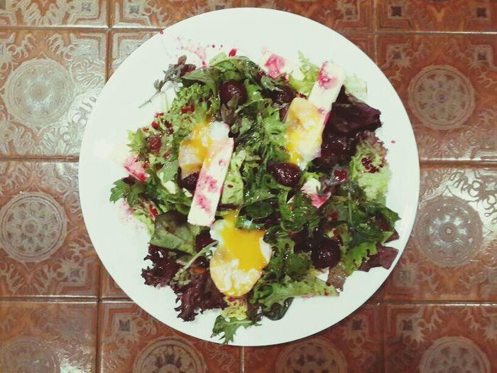 Caramelised Beetroot, Feta and Poached Egg Yolk Salad