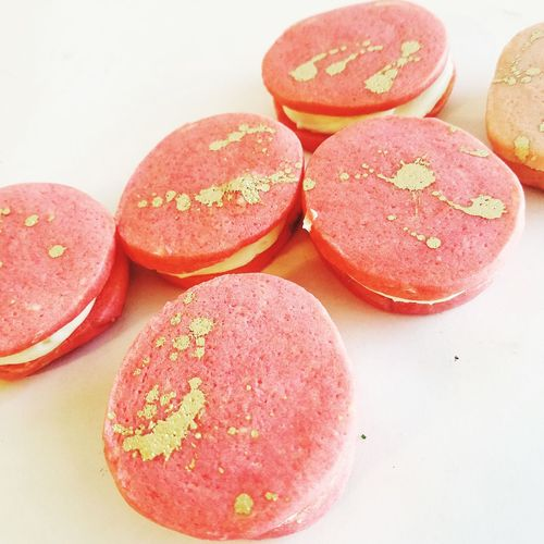 Gold splattered pink cookies Cookies Pink Pink Color PinkCookie Gold Sweets EyeEm Selects White Background Close-up Sweet Food Pastry Dessert