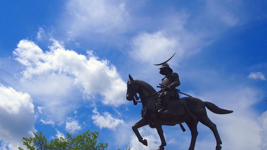 Equestrian Statue of Masamune Date 🏯 He watches over My Hometown Sendai , Wearing Armor with a Crescent Moon Crest 🌙 Miyagi Tohoku Cool Japan Samurai Japanese Castle EyeEm Japan Statue Colection 伊達政宗 仙台市 宮城県 Sendai-shi Sendai Of Japan Historical Place 東北 ASIA 仙台城跡 Sendai-jo Castle Ruins