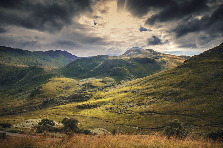 Peaks of Snowdonia Hills in Autumnal Colours Autumn Colors Wales Wales UK Beauty In Nature Cloud - Sky Day Grass Landscape Mountain Mountain Range Nature No People North Wales Outdoors Scenics Sky Snowdonia Tranquil Scene Tranquility Valley