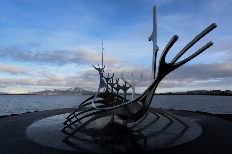 Iceland Reykjavik Landscape Sculpture Outdoors No People Water Sky Cloud - Sky Architecture