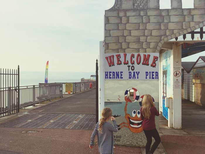 Children on the Pier Children Bench Kent Pier England 🇬🇧 Seaside Real People Sky Built Structure Water Architecture Sea Nature Group Of People Building Exterior Leisure Activity Lifestyles People Communication Beach Day Outdoors Text