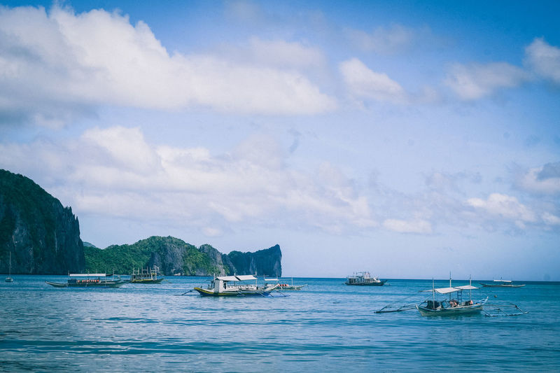 Beauty In Nature Blue Boat Cloud Cloud - Sky Elnido Hoang Ann Horizon Over Water Mode Of Transport Nature Nautical Vessel Philippines Sailboat Sailing Scenics Sea Sky Tranquil Scene Tranquility Transportation Travel Traveling Wanderlust Water Waterfront