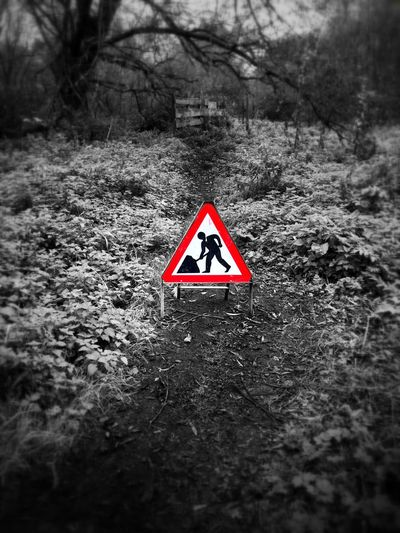 Triangle Shape Danger Outdoors Day No People Nature Close-up Work Sign Black And White Red Country Life Country Road Path In Nature Perspectives On Nature