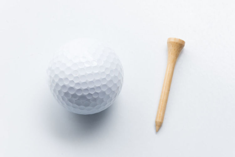 High angle view of ball on table against white background