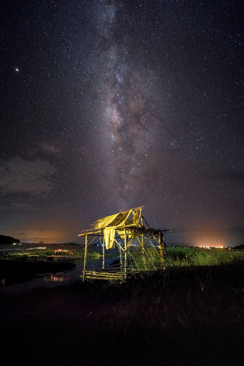 Milky Way Over The Cottage Architecture Astronomy Beauty In Nature Built Structure Constellation Field Galaxy Infinity Land Milky Way Nature Night No People Outdoors Scenics - Nature Science Sky Space Space And Astronomy Star Star - Space