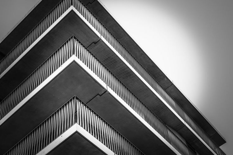 Low Angle View Architecture Built Structure Modern Triangle Shape No People Day Building Exterior Outdoors Sky City EyeEm Selects Monochrome Monochrome _ Collection Black & White Black And White EyeEm Best Shots - Black + White Façade Fence Balcony Building Antwerpen