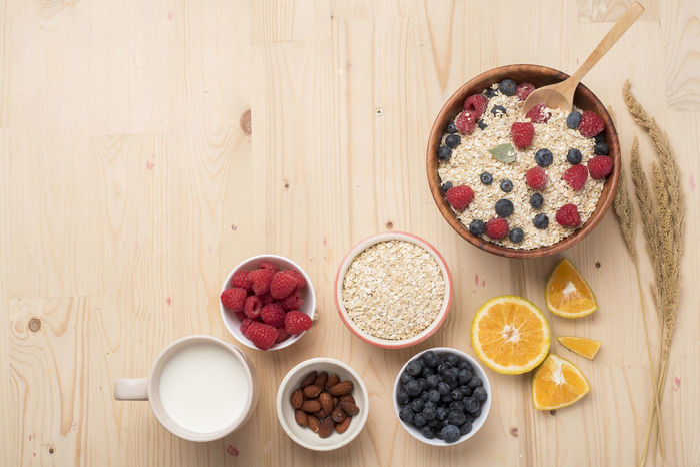 Blueberry Brakefast Diet Food Food And Drink Food And Drink Freshness Fruit Health Healthy Eating Indoors  Ingredient Milk No People Oat Oatmeal Raspberry Table