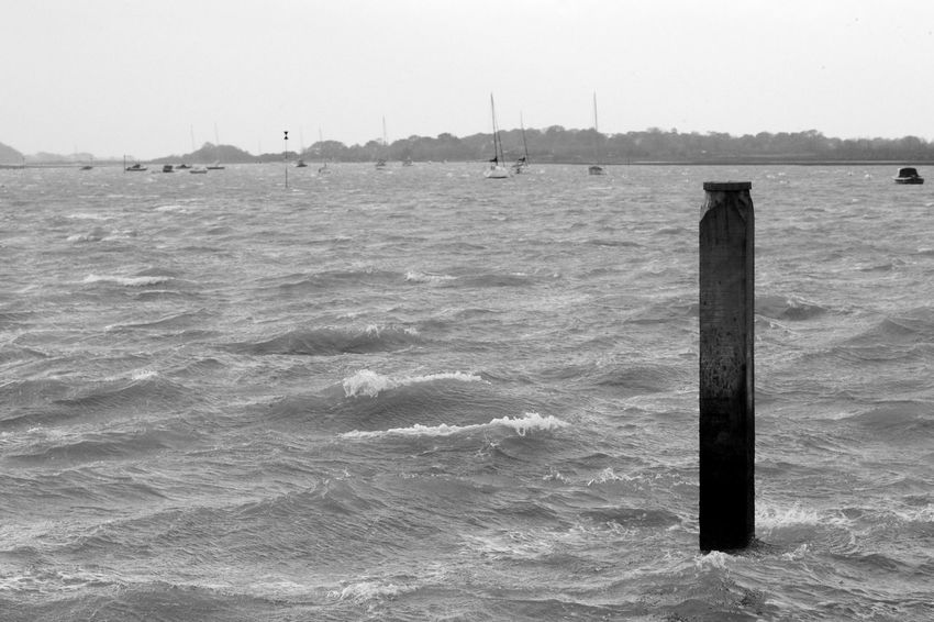 Choppy Black & White Harbour Blackandwhite Day Nature Nautical Vessel No People Outdoors Scenics Sea Water Waves Wooden Post