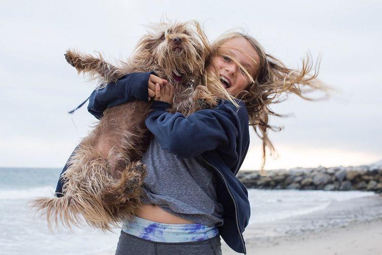 Dogs Kids Beach California Childhood Portrait EyeEm Los Angeles Friendship Ocean Beautiful Best Friends Hair