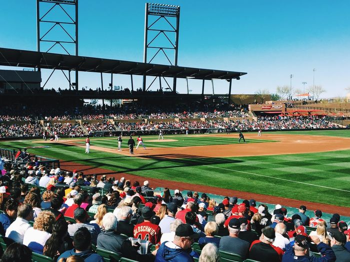 Baseball spring training game Game Fun Sport Stadium Group Of People Crowd Sport Large Group Of People Real People Stadium Built Structure Baseball - Sport Architecture Sky Day Spectator Playing Field Nature Competition Lifestyles Outdoors Men Mixed Age Range Watching Analogue Sound