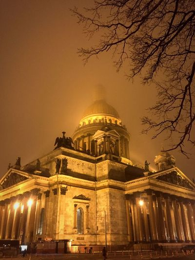 Saint Isaac's Cathedral Isaac's Cathedral Saint Petersburg Night Architecture Dome Built Structure Building Exterior City History Adapted To The City EyeEmNewHere Illuminated Outdoors Foggy Weather Fog