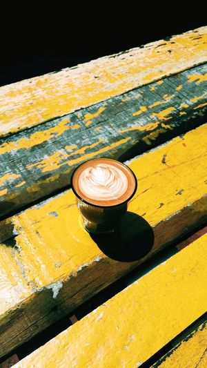 Never too latte for the morning Artistic Coffeeshopcorners Hario Japan Cafeculture Pourovercoffee Handbrew Coffee Hario V60 Cafés Cafe Handbrewcoffee Coffeeshop Textured  Backgrounds Weathered Furniture Shadow No People Retro Style Latteart Cappuccino ☕️ Coffee Cup Coffee Shop