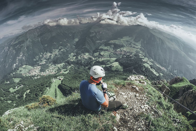 Man sitting on mountain