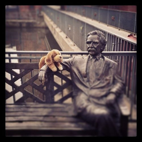 Chilling by the River . Puppy Statue Old man bench ilovemypuppy dogsofinstagram stuffedanimal beagle picoftheday cute sweet hipster lüneburg instabest instamood