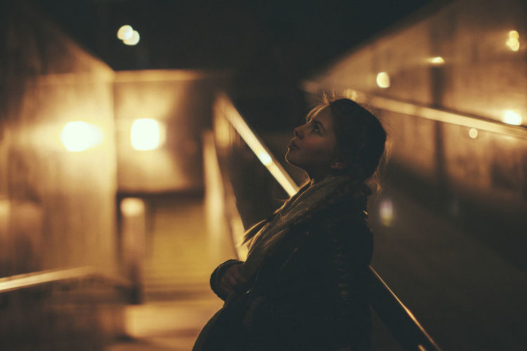 Silhouette of woman at night