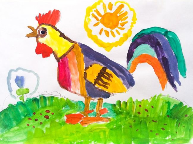 Child Drawing Hand Drawing Drawing Picture Child Rooster Chicken - Bird Paint Multi Colored Watercolor Painting Colorful Sun Bird No People Imagination Alex Drawing Алекс рисует 7 Years Old 3 Lesson Gouache Watercolor