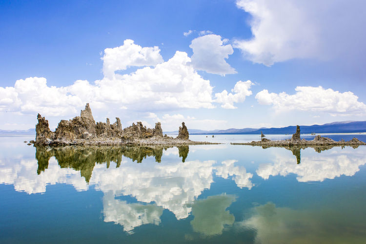 Mono Lake, a large, shallow saline soda lake in Mono County, California, with tufa rock formations Architecture Beauty In Nature Building Exterior Built Structure Cloud - Sky Day History Lake Mono Lake Mono Lake California Nature No People Outdoors Reflection Scenics Sky Tranquil Scene Tranquility Travel Destinations Tufa Water Waterfront