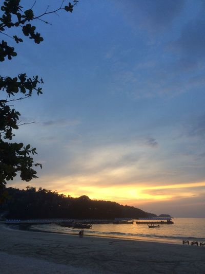 Sunset Sea Sand Sky Beautiful Nature Spectacular View Patong Beach, Phuket, Thailand