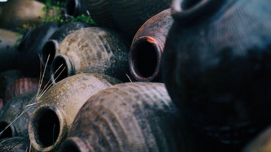 Close-up of pots