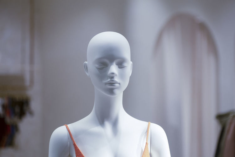Close-up of female sculpture at store