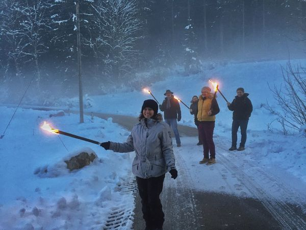 Fackelwanderung Blackforest Buchenberg Torchlight Torchlit Hike Winter Wonderland Winterevenings Winter Wanderlust Torch Torches Nature_collection Baden-Württemberg  Germany Glasbachtal Black Forest Edition. Foggy Forest