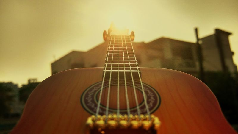 Arts Culture And Entertainment Guitar Music Musical Instrument String Musical Instrument No People Close-up Day Sky Outdoors Classical Guitar noeffects Lieblingsteil