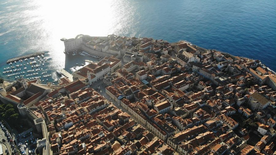 Croatia Dubrovnik Rooftop House Old Town Drone View Europe Built Structure Building Exterior Architecture Heritage Adriatic Sea Tower Town Crowded Travel Travel Destinations Travel Photography Seascape Ocean Beautiful Place Medieval Mediterranean  Aerial View High Angle View