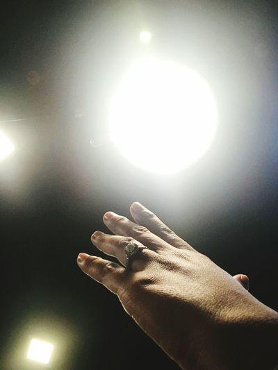 The City Light I'm far away from someone Human Body Part Illuminated Human Hand Spotlight