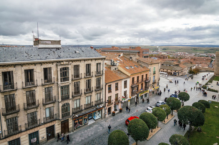 Street of an old european town. High angle view Architecture Building Building Exterior Built Structure City City Life Cityscapes Cloudy Culture Exterior Famous Place High Angle View Outdoors Roofs Street Theresa Town Unesco Walls