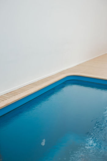 High angle view of swimming pool against sky