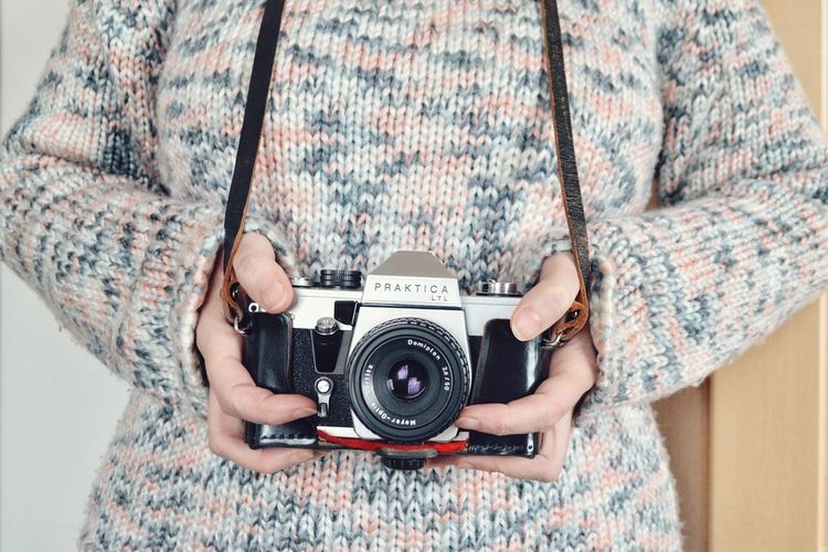 Photography Themes Camera - Photographic Equipment Photographing Photographer Analogue Photography Analog Camera One Person Portrait Human Body Part Leisure Activity Retro Styled Front View Looking At Camera Technology Rethink Things Lifestyles Be. Ready. Inner Power