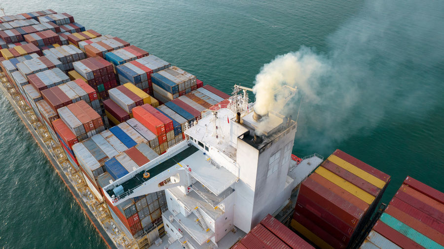 Smoke exhaust gas emissions from cargo lagre ship ,marine diesel enginse exhaust gas