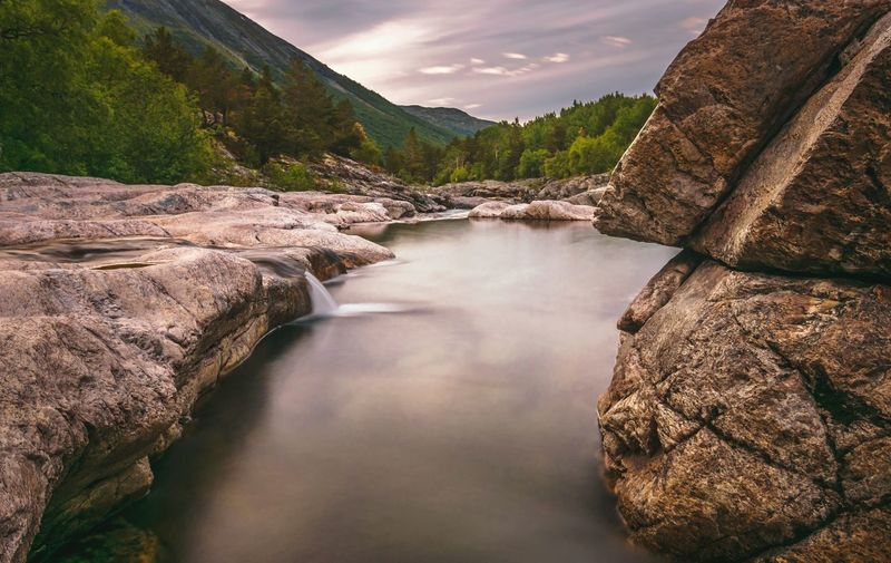 Beautiful nature in Norway Nature Nature_collection River River View Water Mountain Lake Beauty Awe Waterfall Sky Landscape Cloud - Sky Travel Flowing Water Rock Formation Long Exposure Stream Stream - Flowing Water Flowing Geology