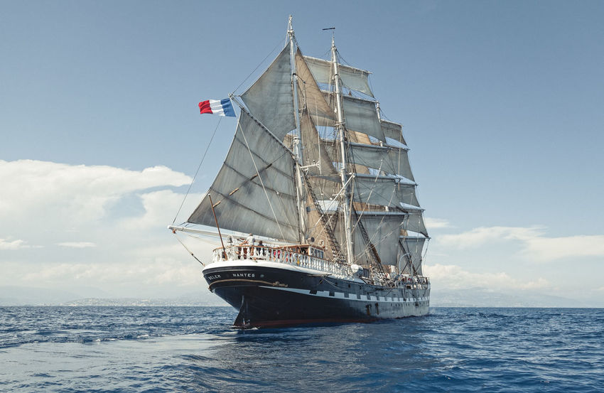 A trip aboard the French 3 mats barque; Belem. We sailed from Marseille to Nice between the Golden Islands. Summer 2014. Blue Wave Colors Documentary Explore Flag Horizon Over Water Letsgosomewhere Mast Mediterranean  Mode Of Transport Nautical Vessel Packandgo Sailboat Sailing Sailor Sea Seascape Ship Sky Summer Tall Ship Tallship The Belem Transportation Water