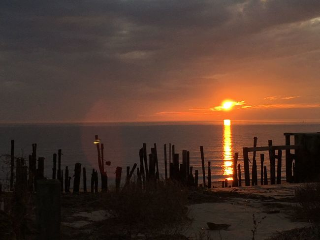 Sunset Nature Sea Scenics Sky Beauty In Nature Tranquility Tranquil Scene Beach Horizon Over Water Outdoors Sun No People Cloud - Sky Sand Wooden Post Water Saguaro Cactus Day New Jersey Photography New Jersey Delaware Bay EyeEm Gallery Dramatic Sky Nature