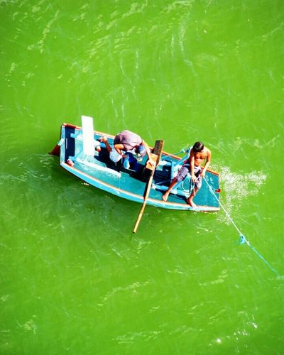 Two People Nautical Vessel Togetherness Vacations Gondola - Traditional Boat Water People Outdoors Adults Only Nature Bonding High Angle View Travel Destinations Day Adult Full Length Riopotengi Natal - RN Real People Boy
