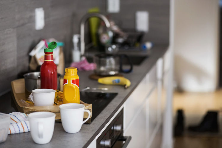 Close-up of drinks in kitchen at home
