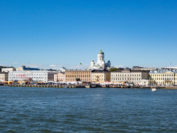Architecture Building Exterior Built Structure Capital Cities  City Culture Dome Façade Famous Place History International Landmark Place Of Worship Religion Tourism Town Square Helsinki Finland Travel View From Ship View Sea Sunny Day Day Trip Cathedral Seeing The Sights