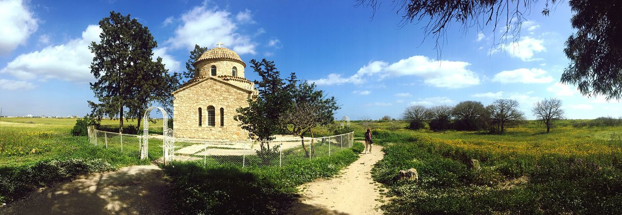 Church of St Barnabas, Northern Cyprus Cloud - Sky Sky Tree Architecture Built Structure Panoramic Place Of Worship Tranquility Scenics Beauty In Nature