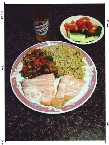 Poached salmon and cous cous...