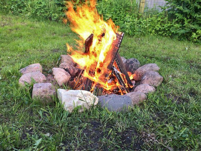 Midsummer fire Jaanituli Flame Burning Fire - Natural Phenomenon Heat - Temperature Grass Field Bonfire Outdoors