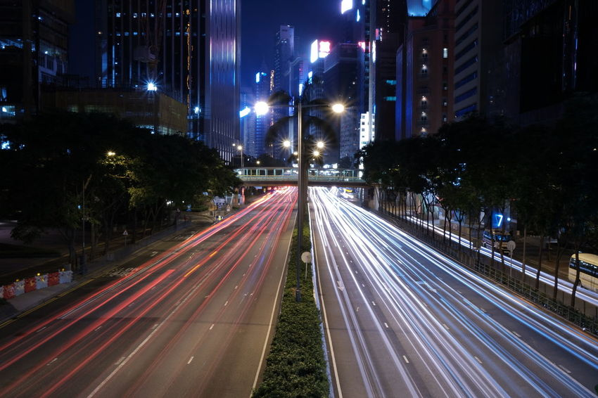 Hong Kong Architecture Building Exterior City Fujifilm High Angle View High Street Hong Kong Island Illuminated Light Trail Long Exposure Motion Night No People Outdoors Road Speed Street Street Light Traffic Transportation Urban Scene